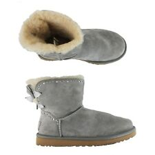 UGG Womens Dixi Flora Perf Gray Suede Bow Ankle Wool Winter Boots sz 8