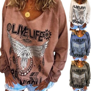 Womens Long Sleeve T-Shirt Jumper Ladies Pullover Casual Blouse Tops Sweater UK
