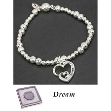 Equilibrium bracelet silver plated beaded heart dream Bangle gift boxed