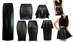 Women PU PVC Wet look faux Leather Peplum Frill Bodycon Mini Flared Maxi Skirt