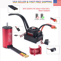 3674 2250KV Sensorless Brushless Motor 120A Brushless ESC RC for 1/8 Buggy Car