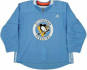 Adidas NHL Hockey Mens Pittsburgh Penguins Pro Authentic Practice Jersey SkyBlue