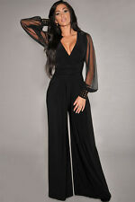 Women's Black Jumpsuit V-Plunge Mesh Sleeves Studs Cocktail Club Formal L New