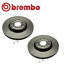 VW Audi Pair Set of 312mm Front Left and Right Slotted Disc Brake Rotors Brembo