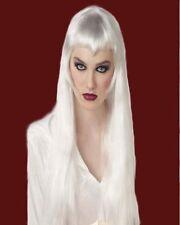 Perruque Longue Blanche avec frange femme   Wig / Wigs White