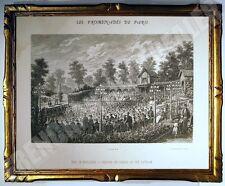SUPERBE GRAVURE théâtre Pré Catelan Bois de Boulogne PROMENADES DE PARIS 1882