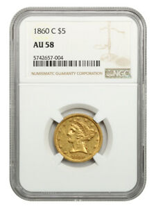 1860-C $5 NGC AU58 - Scarce Charlotte Issue - Liberty Half Eagle - Gold Coin