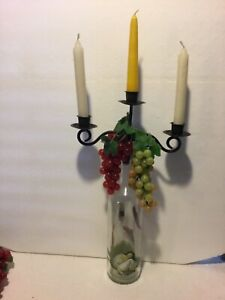 3 ARM SCROLLED  METAL BOTTLE CANDELABRA TOPPER DECORATED BOTTLE RUBBER GRAPES