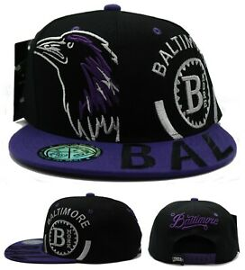 Baltimore New Youth Kids Bird Head Ravens Black Purple Era Snapback Hat Cap
