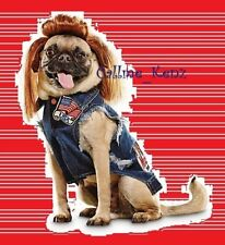 "PetCo""Bootique""Mutt Trucks""S Denim Vest Mullet Wig Dog Cat Costume Small Rocker"