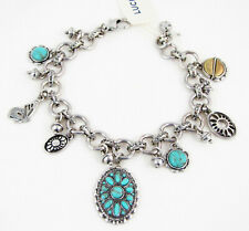 Lucky Brand Turquoise Concho Butterfly Charm Silver-tone Bracelet, 7-7.5 NWT