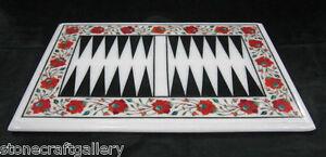 "18"" x 12"" Marble Backgammon Table Top Malachite Inlay Home Decor"