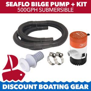SEAFLO 500GPH Submersible Marine Bilge Pump Kit   With Pump, Fittings & Hose