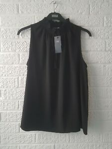 BNWT Ladies Size 16 TOP MARKS and SPENCER BLACK BLOUSE Short Sleeves QUALITY