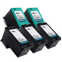 5pk Printronic For Hp 74XL 75XL CB336WN CB338WN Black Color Ink Cartridge