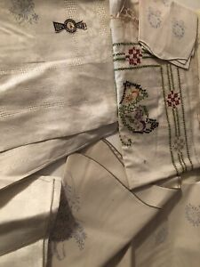 Lot of 5 VINTAGE UNFINISHED TABLECLOTH Etc Linen Cotton NEEDLEWORK EMBROIDERY