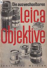 Leitz Prospekt - Die auswechselbaren Leica Objektive