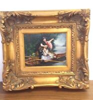FINE QUALITY SIGNED 8X10 PAINTING ROMANTIC SCENE IN BOAT ORNATE GOLD 16X18 FRAME