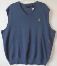 Polo Ralph Lauren Big and Tall Mens Shale Blue Pima Cotton Sweater Vest NEW 2XLT