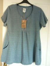 MANTARAY BLUE EMBROIDERED FRONT PATTERNED TUNIC TOP UK 14, EUR 40-42, US 10 BNWT