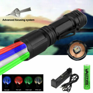 Powerful 4 Color in 1 LED Flashlight Zoomable 10W 150 Yards Torch Coyote Hunting