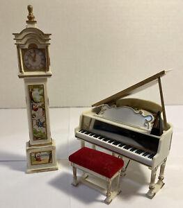 Vintage IDEAL Petite Princess Dollhouse Furniture Grand Piano Grandfather Clock