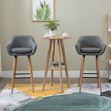 2 Pieces Modern Upholstered Fabric Bucket Seat Bar Stools with Wood Legs Grey