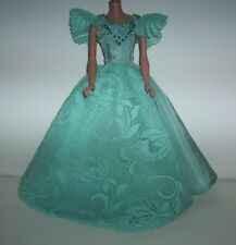 Barbie Vintage Style Homemade Turquoise Dress Gown with Lace & Beads