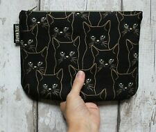 Black Cat Makeup Bag. Pencil Case Zipper Pouch. Cosmetic Purse. Fun Animal Gift