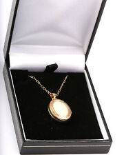 New in Box 9ct Gold 2.8g Mother of Pearl Oval Locket, Wedding, Bride