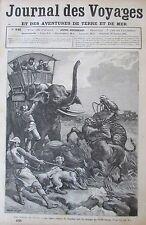 JOURNAL DES VOYAGES N° 446 de 1886 ASIE CHASSEURS ATTAQUE DE TIGRES ELEPHANTS