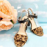Shoe Mint Womens Carol Leopard Animal Print Heeled Sandals, Brown Black, Sz 6.5