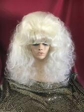 SIN CITY WIGS! WHITE PLATINUM BLONDE LONG CURLY WAVY THICK BANGS SWEET VOLUME