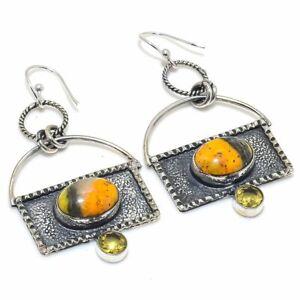 "Bumble Bee Jasper,Citrine Gemstone Handmade 925 Silver Jewelry Earring 2.36"""