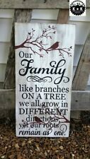 LARGE Rustic Primitive Sign Family Like Branches Farm House Distressed Wood Home