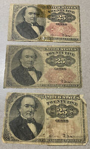 1874 Fractional Currency 25 Cents Bill, lot of (3)
