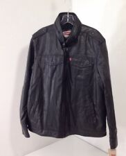 LEVI'S FAUX LEATHER JACKET W/HOOD BLACK LARGE NEW W/DEFECTS $180