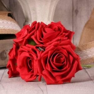 25 Luxury Artificial Foam Open Tea Rose Flowers - Bouquet Wedding Party