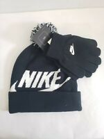 New Nike Beenie Boys Youth Black White Hat Cap Swoosh Gloves Set 2pc