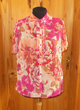 M&S pink red peach coral cream floral chiffon short sleeve blouse shirt top 16