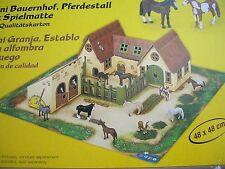Papo 33100, Mini Bauernhof, Pferdestall mit Spielmatte 48cmx48cm, Neu, OVP
