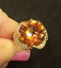 14K YG MADIERA CITRINE & DIAMOND Ring, BEVERLY HILLS ELEGANCE, 12.4 Grams!