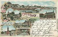 Ansichtskarte Offenbach a.M. 1899 Stadtbad Kirche Markt  (Nr.830)