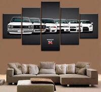 Gift Home Decor Canvas Print Painting Art 5Pcs Nissan GTR Car