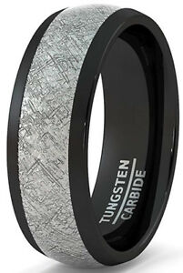Black Tungsten ring Meteorite Inlay Band Dome Design Size 7 to 13 1/2 Sizes