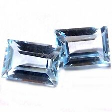 NATURAL TOP BLUE TOPAZ LOOSE GEMSTONES (PAIR) BAGUETTE-FACETED