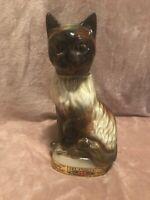 "Vintage 1967 Jim Beam Siamese Cat Ceramic Whiskey Decanter Figural 11"""