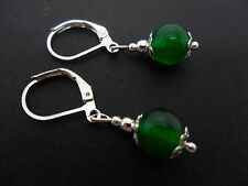 A PAIR OF SHORT GREEN JADE BEAD  DROP LEVERBACK HOOK EARRINGS. NEW. 8MM.