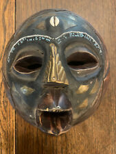 Vintage Wooden Ghana African Tribal Art Wall Mask Hand Carved Wood