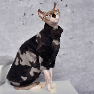 Sphynx cat kitten fleece sweater vest sleeveless black gray camouflage turtlenec